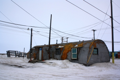 Home! Sweet Arctic home, a World War Two era Quonset Hut.