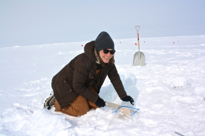 Cutting up ice cores = a good way to stay warm in the Arctic.