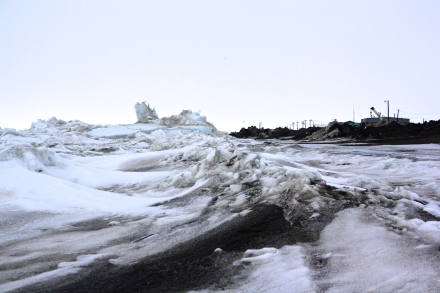 The frozen Chukchi Sea meets the icy beach in downtown Barrow, Alaska.